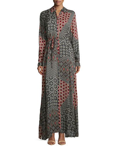 Animalia Long-Sleeve Maxi Dress, Petite