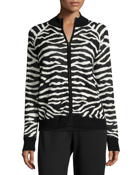 Joan Vass Zebra-Print Zip-Front Jacket, Basic Ribbed Tank