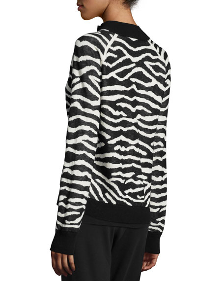 Zebra-Print Zip-Front Jacket