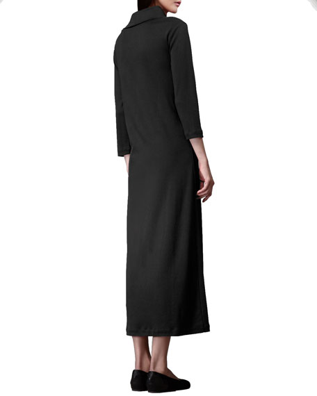 Turtleneck Maxi Dress, Petite, Black