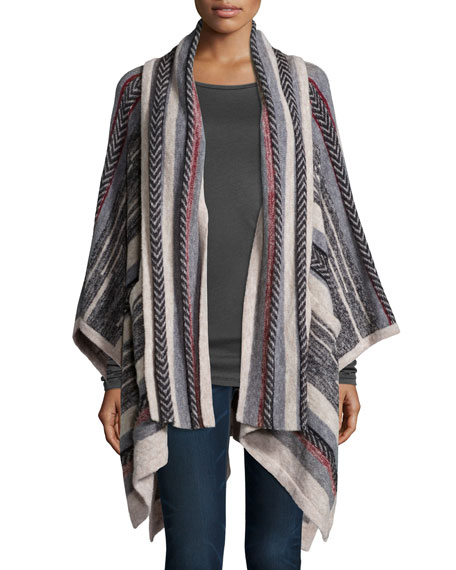 Cynthia VincentStriped Open-Front Scarf Poncho, Red