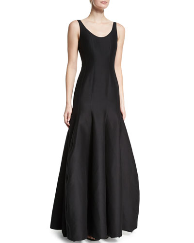 Tulip-Skirt Sleeveless Gown, Black