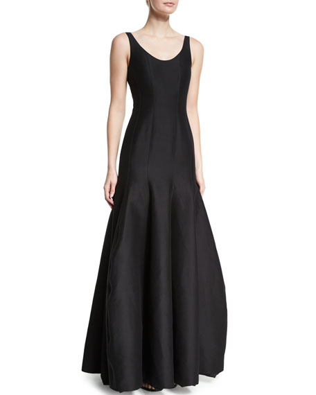 Halston Heritage Tulip-Skirt Sleeveless Gown, Black