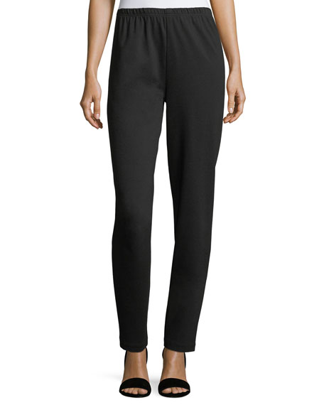 Caroline Rose Ponte Slim Pants, Black, Plus Size