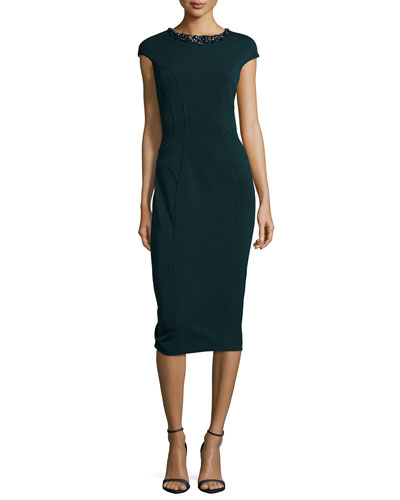 Dardee Embellished-Neck Sheath Dress, Dark Green