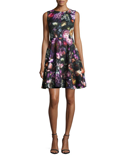 Sleeveless Floral-Print Fit-&-Flare Dress, Gray