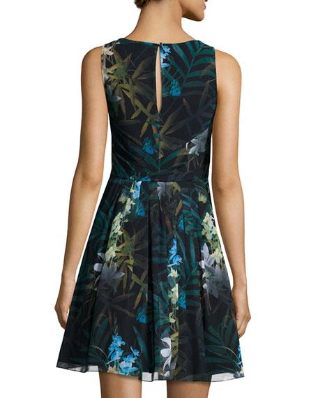 Twilight Floral-Print Pleated Dress, Black