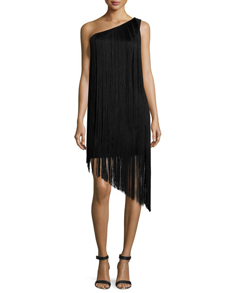 Aidan by Aidan Mattox One-Shoulder Fringe Cocktail Dress