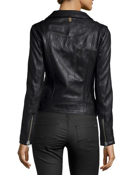 Embossed Lambskin Leather Moto Jacket