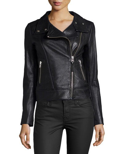 Embossed Lambskin Leather Moto Jacket