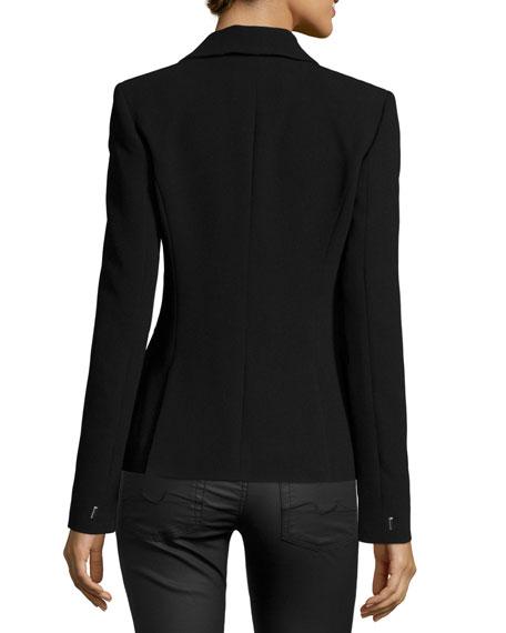 Two-Tone Blazer W/Asymmetric Lapel, Black