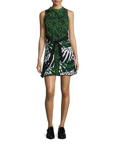 Sleeveless Front-Tie Dress, Green/Black