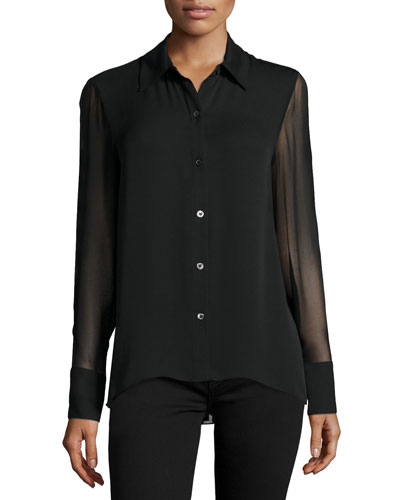 Elissa Long-Sleeve Pleated-Back Top, Black