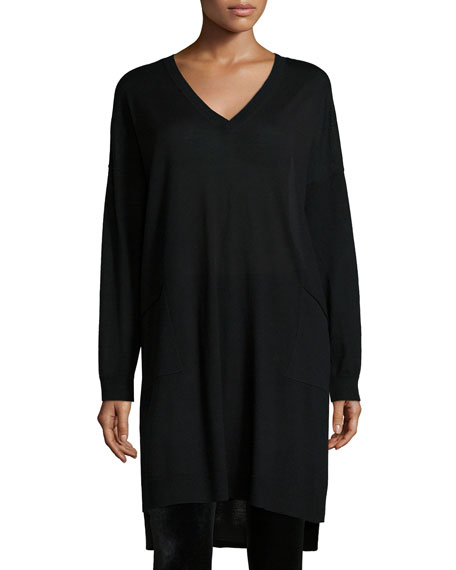 Long-Sleeve V-Neck Jersey Dress