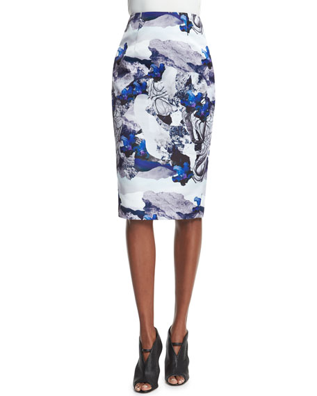 Abstract Floral-Print Pencil Skirt, Navy