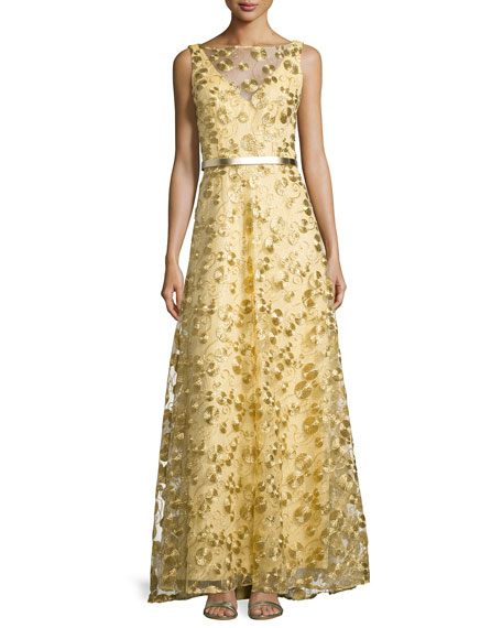 Sleeveless Circle-Embellished Gown, Gold