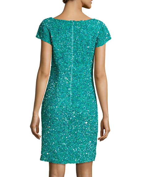 Cap-Sleeve Embellished Dress, Tourmaline