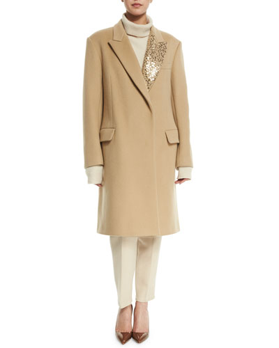 Long Wool-Blend Coat W/ Sequined Lapel