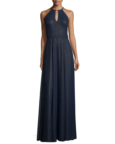 Phoebe Halter Striped A-line Gown