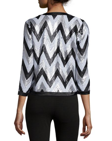 Zigzag-Sequined Jacket, Petite