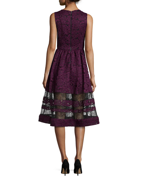Image 3 of 3: Odelia Sleeveless Lace Midi Dress, Plum/Black