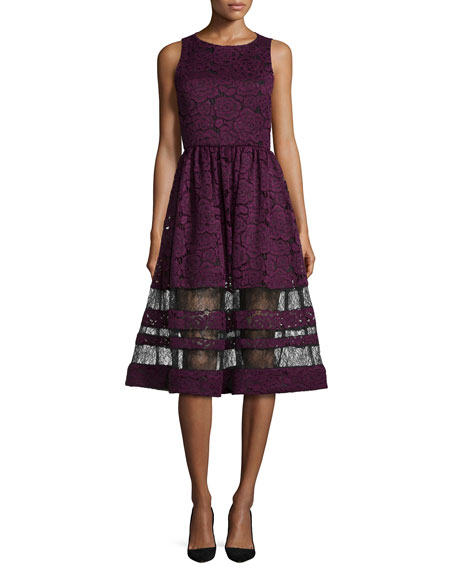 Image 1 of 3: Odelia Sleeveless Lace Midi Dress, Plum/Black