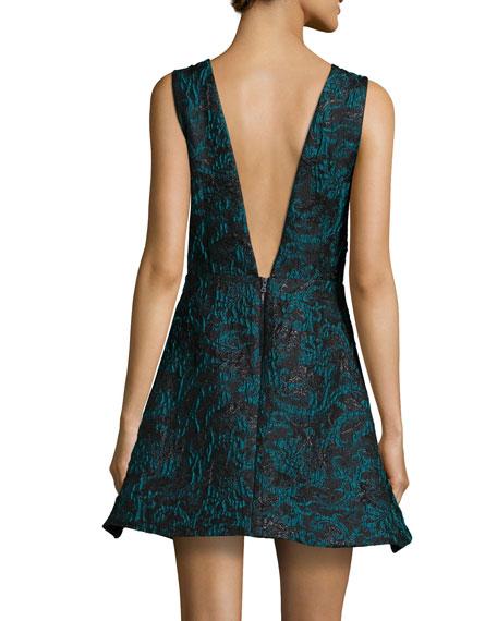 Malory Sleeveless V'd A-Line Dress, Black/Teal