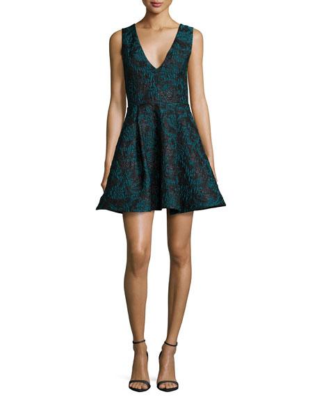 Alice + Olivia Malory Sleeveless V'd A-Line Dress,