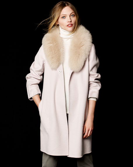 Neiman Marcus Cashmere Collection Double-Face Cashmere Coat W/ Fur ...