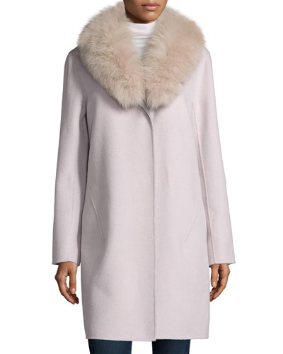 Double-Face Cashmere Coat W/ Fur Collar