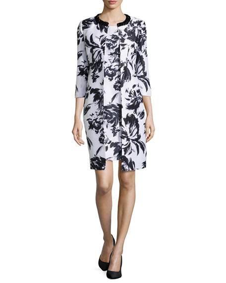 Albert Nipon Abstract Floral-Print Jacket & Dress, Black/White