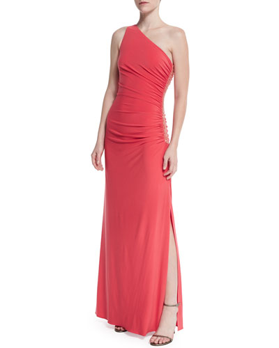 One-Shoulder Beaded Gown W/Side Ruching, Vintage Coral