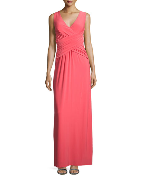 Sleeveless Crisscross Gown, Hibiscus
