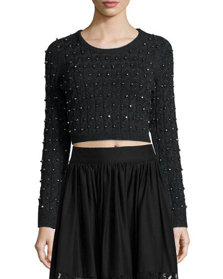 Alice + Olivia Ora Cropped Wool Pullover Sweater,