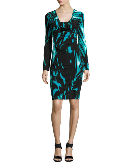 Natori Capiz Long-Sleeve Abstract-Print Dress, Dusty Jade