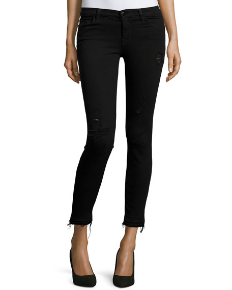 J Brand Jeans Mid-Rise Cropped Jeans W/Raw-Edge Hem,