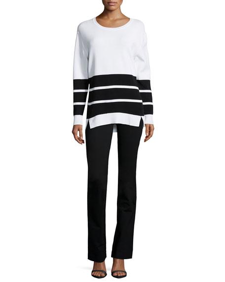 J Brand Aliso Long-Sleeve Triple-Stripe Sweater, White/Black