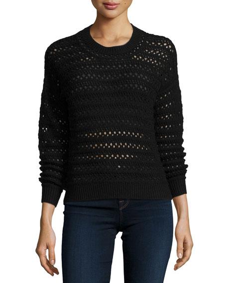 J Brand Jeans Flower Long-Sleeve Crochet Sweater, Black