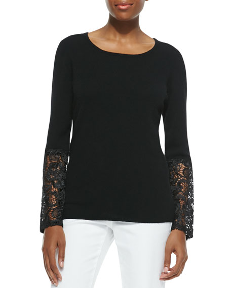 Neiman Marcus Cashmere Collection Cashmere Crochet-Sleeve Sweater
