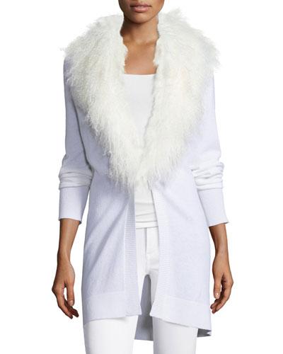 Mongolian Fur-Collar Cashmere Cardigan