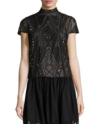 Viktoria Embroidered Mock-Neck Top, Black