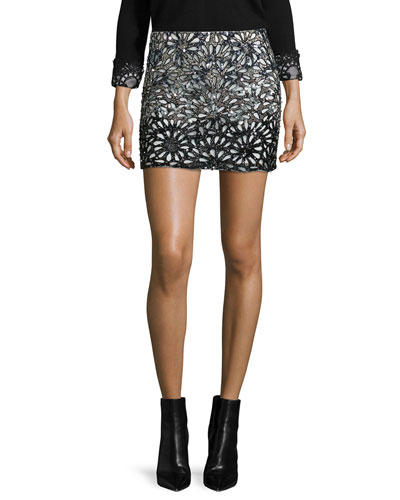 Elana Beaded Laser-Cut Skirt, Black/White
