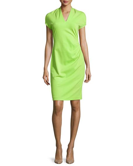 Natori Shira Short-Sleeve Shift Dress, Plume Green