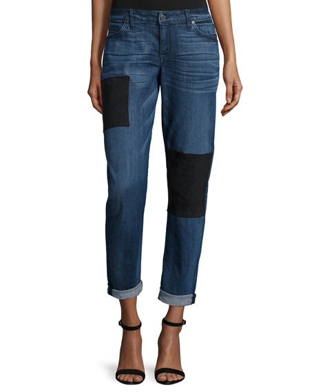 CJ by Cookie Johnson Ultra-Suede Patch Boyfriend Jeans