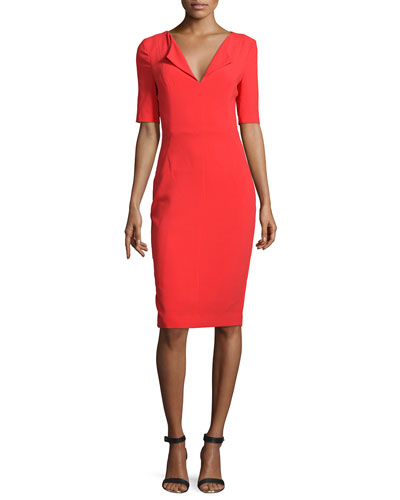 Short-Sleeve V-Neck Sheath Dress