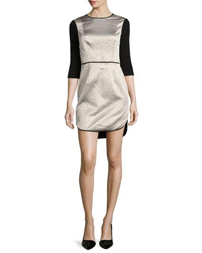 3/4-Sleeve Jacquard Combo Dress