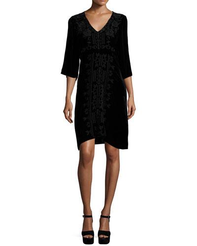 Lelko Embroidered Velvet Tunic Dress, Women's