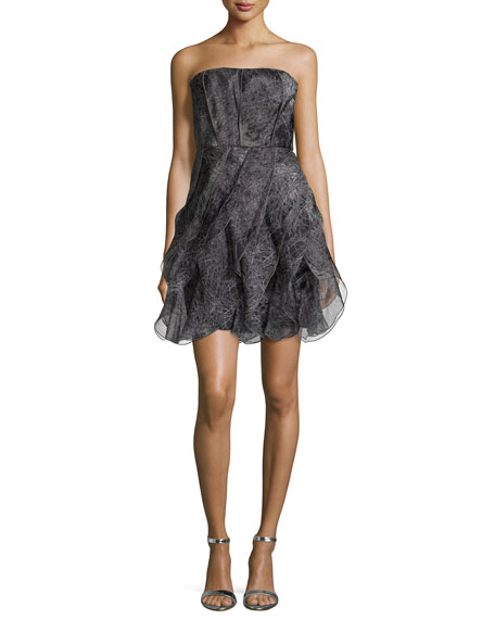 Halston Heritage Strapless Fit-&-Flare Cocktail Dress, Charcoal