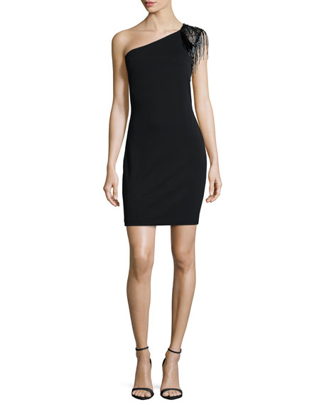 Halston Heritage One-Shoulder Embellished Cocktail Dress, Black