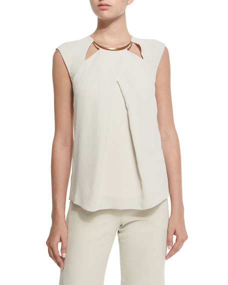Halston Heritage Cap-Sleeve Necklace-Detail Top